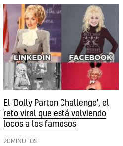 20200125 dolly partón challenge linkedin facebook instagram tinder