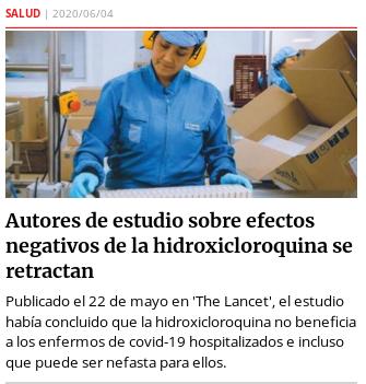 20200603 hidroxicloroquina si es eficaz para tratar covid-19 semana