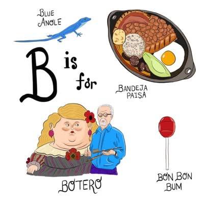 abecedario colombiano b es de botero bón bón bum bandeja paisa