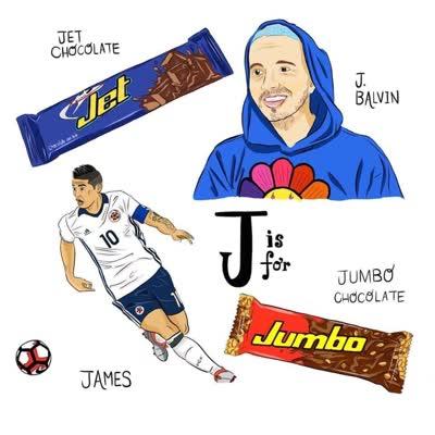 abecedario colombiano j de james rodriguez jet chocolate jumbo chocolate j balvin