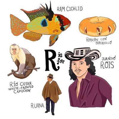 abecedario colombiano r de ruana roscón juancho roid ram chichlid