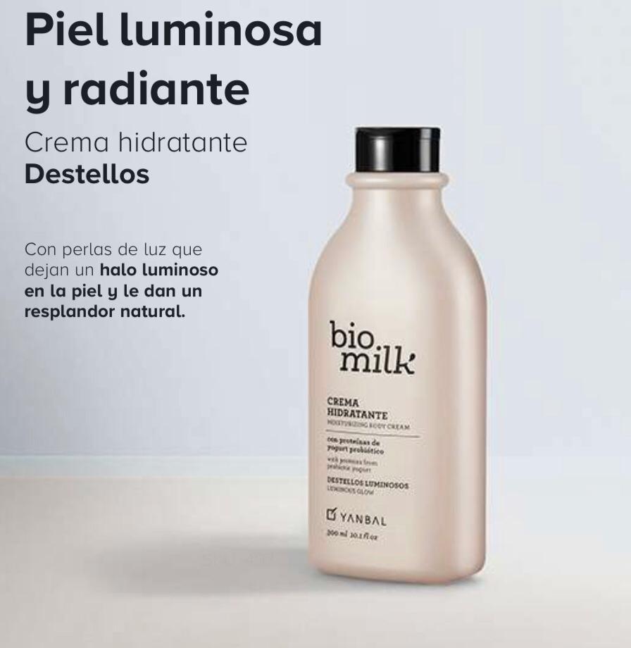 crema hidratante bio milk de yanbal