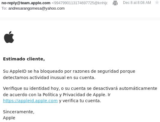 ejemplo de phishing example false link