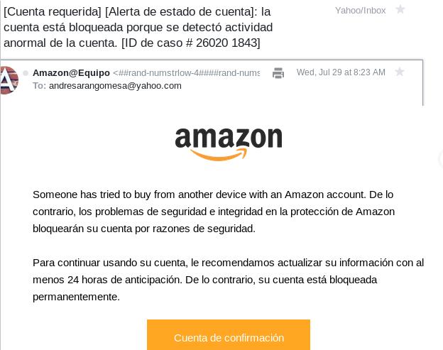 Ejemplo De Phishing Falso Anuncio De Bloqueo De Cuenta De Amazon Para Robar Tus Datos Y Contraseña