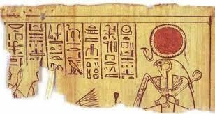el papel egipcio es el papiro aqui representando a ra el dios sol