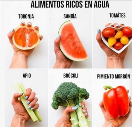 frutas y verduras ricas en agua