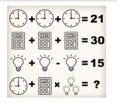 nueve mas nueve por treintiseis tres bombillos tres relojes tres calculadoras