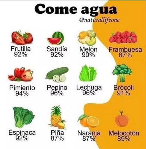 porcentaje de agua en frutas y verduras
