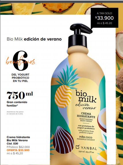 Bio Milk Verano Crema Humectante De Yanbal Código 530